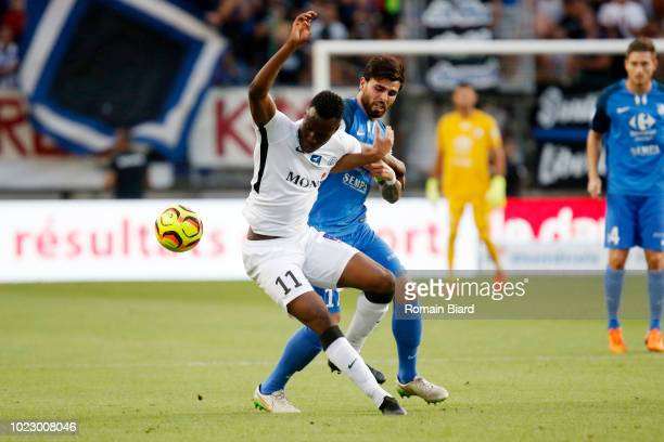 Boukari Abdoul Razak of Chateauroux and Spano Maxime of Grenoble during Ligue 2 match between Grenoble and Chateauroux on August 24 2018 in Grenoble...