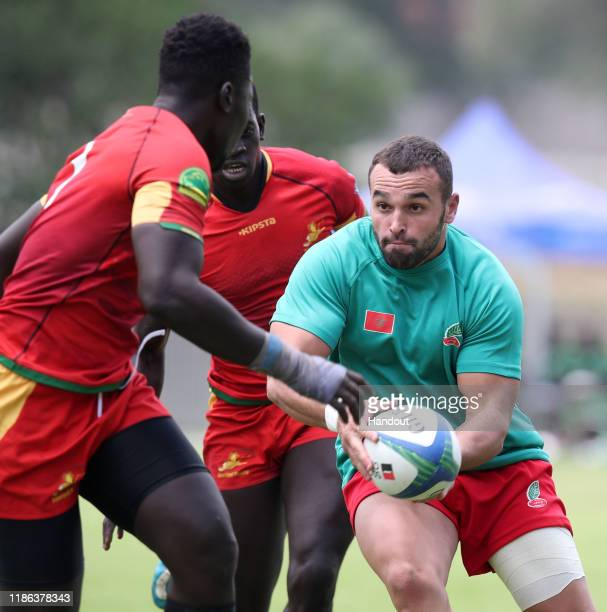 Boulahcen Meddi of Morocco challenged by Dia Ibrahima of Senegal during the 2019 Rugby Africa Mens 7s match between Senegal and Morocco at the Bosman...