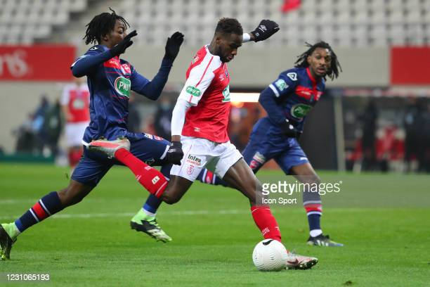 Boulaye DIA of REIMS and Ismael DOUKOURE of VALENCIENNES during the French Cup match between Reims and Valenciennes at Stade Auguste Delaune on...