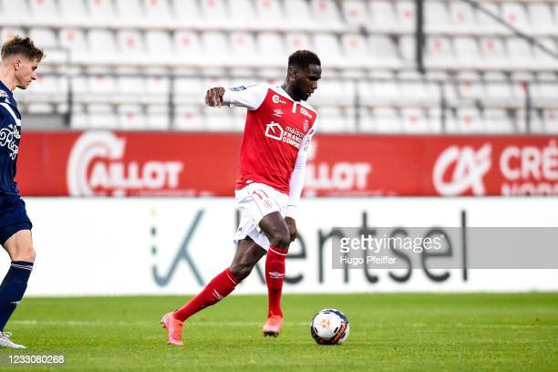Boulaye DIA of Reims during the Ligue 1 match between Reims and Girondins Bordeaux at Stade Auguste Delaune on May 23, 2021 in Reims, France.