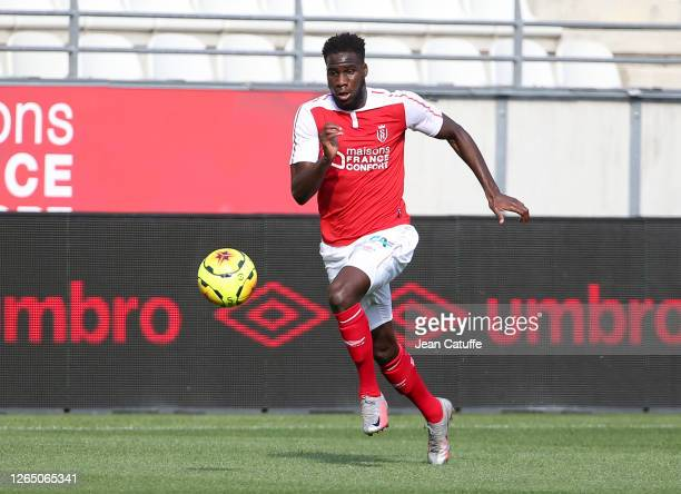 Boulaye Dia of Reims during the pre-season friendly match between Stade de Reims and FC Girondins Bordeaux at Stade Auguste Delaune on August 8, 2020...