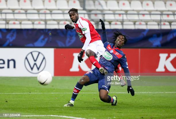 Boulaye Dia of Reims, Ismael Doukoure of Valenciennes during the French Cup match between Stade Reims and Valenciennes FC at Stade Auguste Delaune on...
