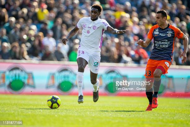 Boulaye Dia of Stade de Reims defended by Ellyes Skhiri of Montpellier during the Montpellier Vs Stade de Reims French Ligue 1 regular season match...
