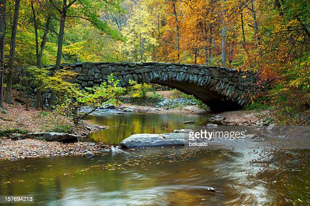 Boulder Bridge in Rock Creek Park on an autumn day