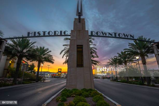 boulder city at sunset - boulder city stock photos and pictures