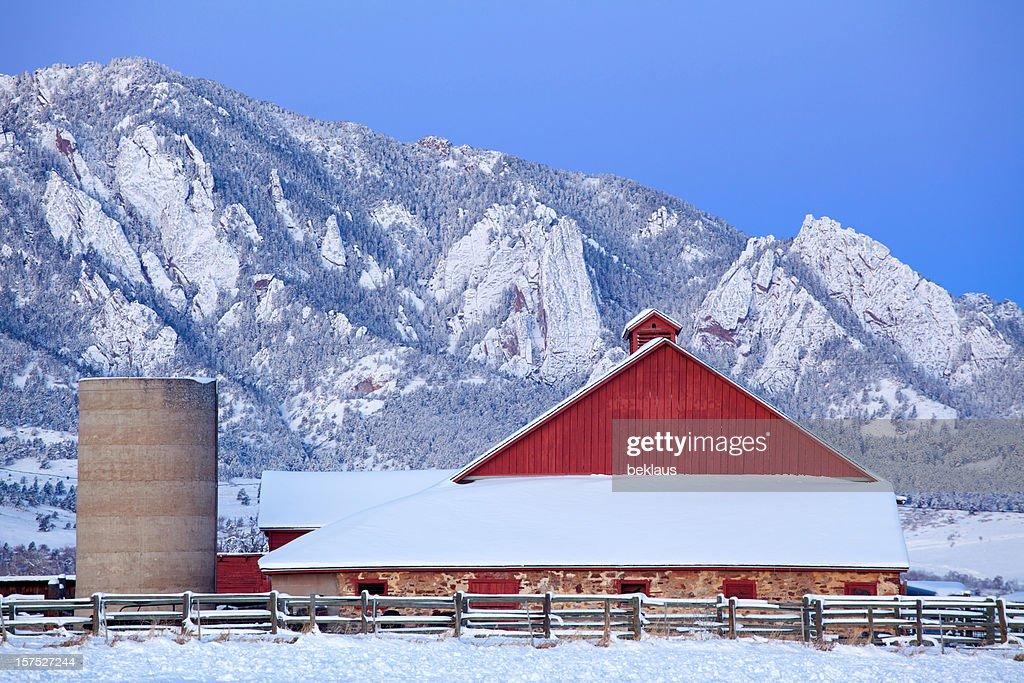 Boulder Colorado Barn and Flatirons : Stock Photo