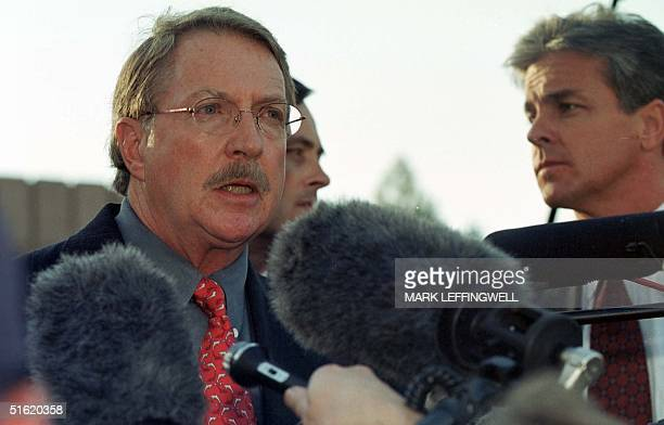 Boulder County District Attorney Alex Hunter announces 13 October 1999 the end of the grand jury hearing the JonBenet Ramsey murder investigation He...