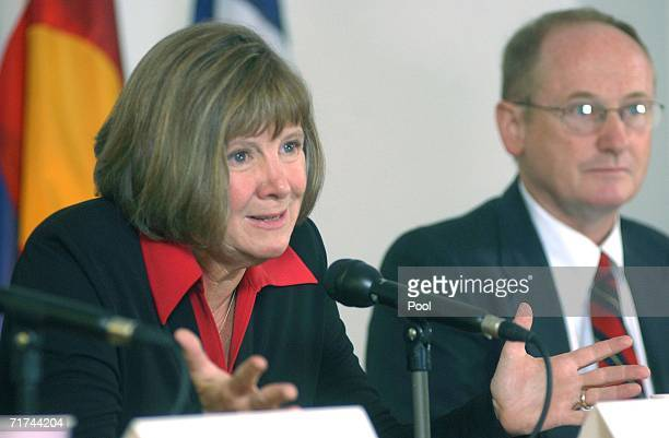 Boulder County District Attorney Mary Lacy speaks next to First Assistant DA Peter Maguire during a press conference at the Boulder County Justice...