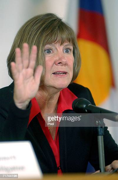 Boulder County District Attorney Mary Lacy speaks to the media during a press conference at the Boulder County Justice Center August 29 3006 in...