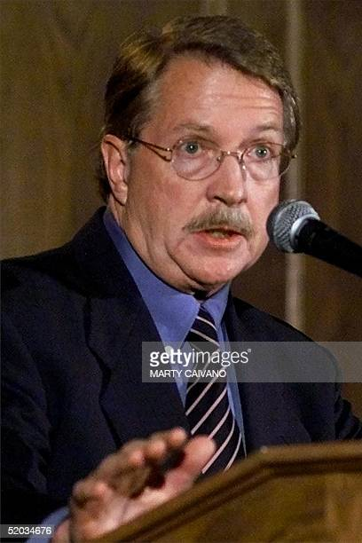 Boulder District Attorney Alex Hunter speaks at a press conference 14 October in Boulder, CO, the day after a grand jury in the JonBenet Ramsey...