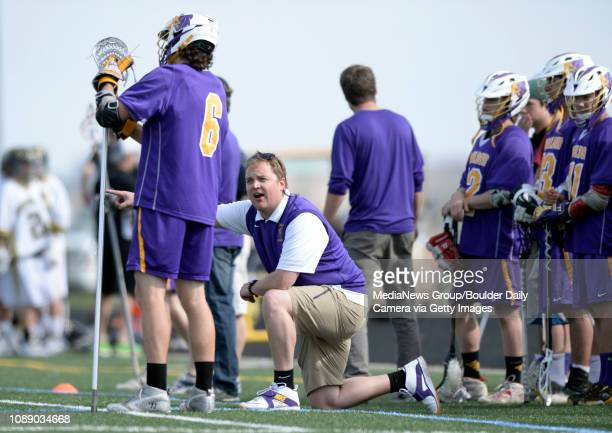 Boulder High School Coach Collin Knowles Talks With Vito Leccese During A Lacrosse Game Against Monarch