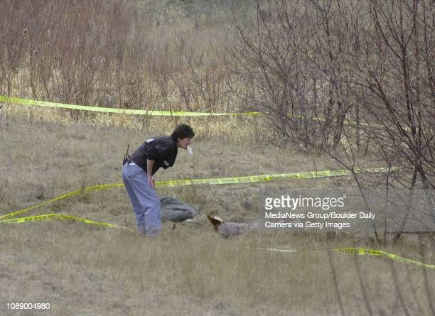 A Boulder police forensic investigator gets a look at the sleeping area of a homeless man the crime scene of his death near a Wonderland Lake Friday...