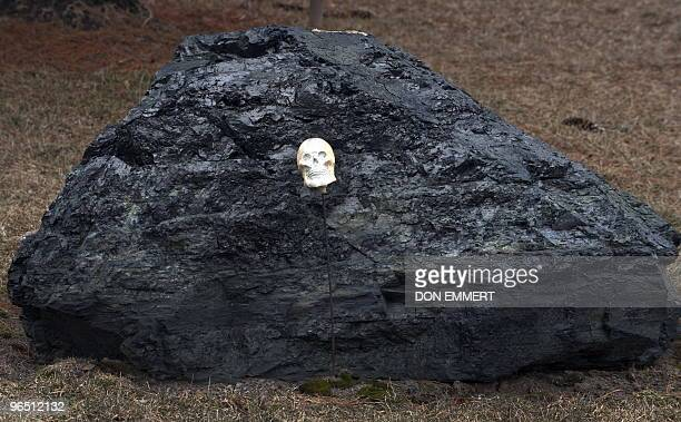 A boulder sized lump of coal has a miniature plastic human skull resting on it February 2 2010 in Centralia PA The coal sits in the yard of a...
