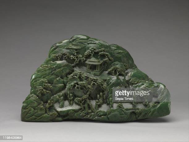 Boulder with Daoist paradise, Qing dynasty , 18th century, China, Jade , H. 10 9/16 in. ; W. 17 15/16 in. ; D. 5 5/16 in. , Jade, This impressive...
