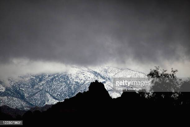 boulders and tree silhouetted against snowy mountains; stormy sky above near joshua tree national park - timothy hearsum stockfoto's en -beelden