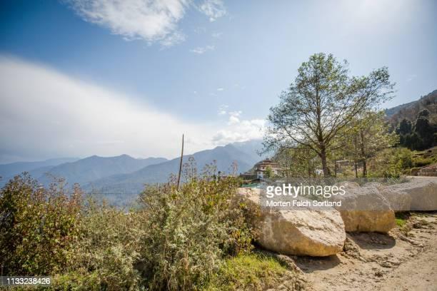 boulders by the side of the road in trongsa, bhutan - trongsa district stockfoto's en -beelden