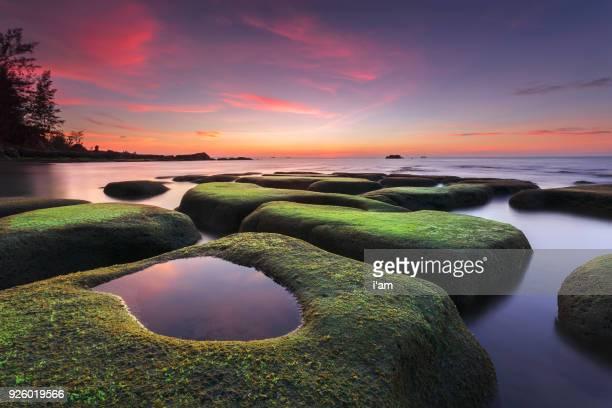boulders of rocks with green moss seascape sunset view at tindakon dazang beach kudat, sabah, malaysia - sabah state stock pictures, royalty-free photos & images