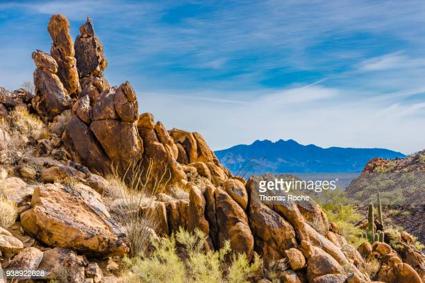 boulders on the mountain side - sonoran desert stock pictures, royalty-free photos & images
