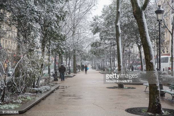 Boulevard de Clichy under the snow on February 6 2018 in Paris France Several french departments are affected by a snow episode for two days