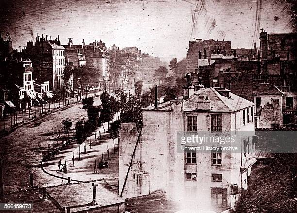 Boulevard du Temple Paris France photographed by Louis Daguerre Believed to be the earliest photograph showing a living person Only the two men near...