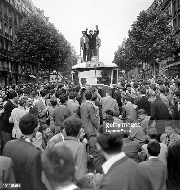 """Boulevard Saint-Michel, the traditional students' rag procession celebrating the end of the """"baccalaureat"""" develops the atmosphere of a..."""