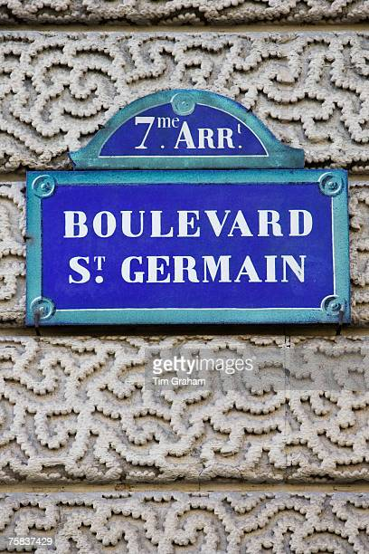 Boulevard St Germain street sign Paris France