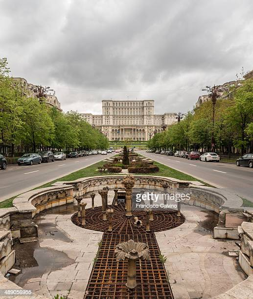Boulevard Unirii with the Palace of Parliament in the background Bucharest Romania