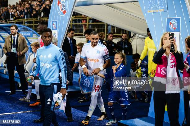 Bouna Sarr and Dimitri Payet of Marseille during the Ligue 1 match between Strasbourg and Olympique Marseille at Stade de la Meinau on October 15...