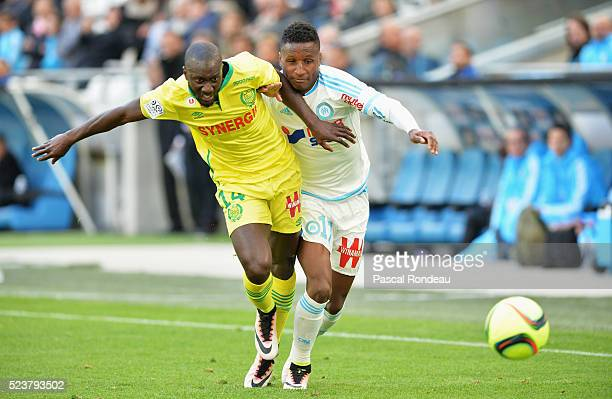 Bouna Sarr from Marseille fight with Youssouf Sabaly during the game between Olympique de Marseille v FC Nantes at Stade Velodrome on April 24 2016...