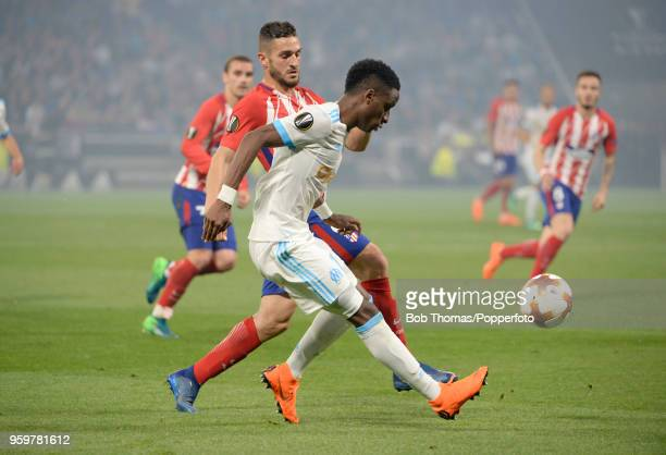 Bouna Sarr in action for Marseille during the UEFA Europa League Final between Olympique de Marseille and Club Atletico de Madrid at Stade de Lyon on...