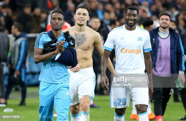 Bouna Sarr Lucas Ocampos Andre Zambo Anguissa of OM celebrate the qualification following the UEFA Europa League quarter final leg two match between...