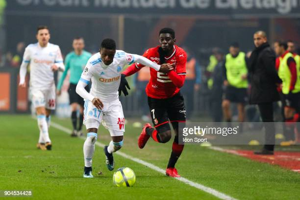 Bouna Sarr of Marseille and Ismaila Sarr of Rennes during the Ligue 1 match between Rennes and Marseille at Roazhon Park on January 13 2018 in Rennes...