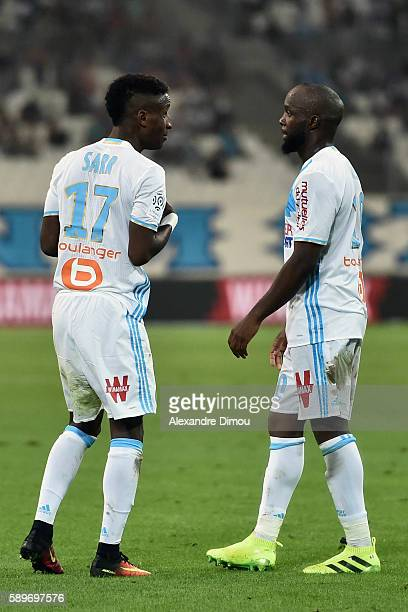 Bouna Sarr of Marseille and Lassana Diarra of Marseille during the football Ligue 1 match between Olympique de Marseille and Toulouse Fc at Stade...
