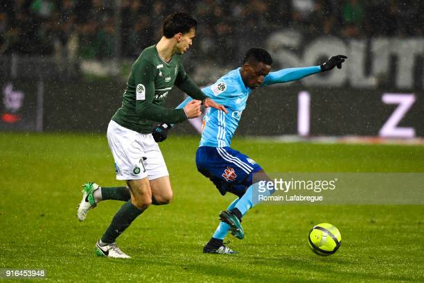 Bouna Sarr of Marseille and Ole Selnaes of Saint Etienne during the Ligue 1 match between AS SaintEtienne and Olympique Marseille at Stade...