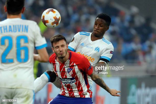 Bouna Sarr of Marseille and Saul Niguez of Atletico Madrid battle for the ball during the UEFA Europa League Final between Olympique de Marseille and...
