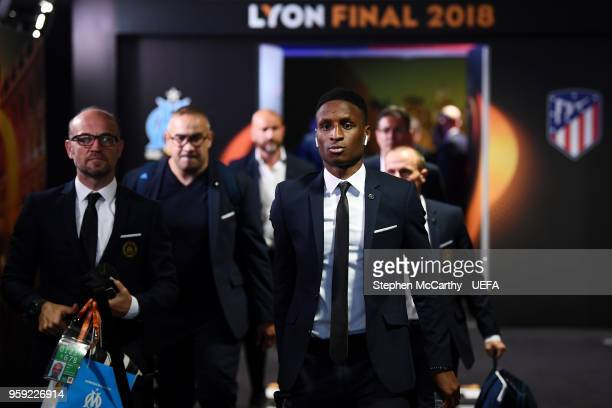 Bouna Sarr of Marseille arrives at the stadium ahead of the UEFA Europa League Final between Olympique de Marseille and Club Atletico de Madrid at...