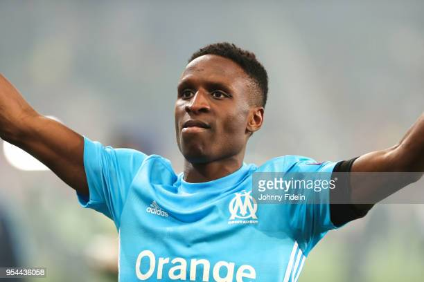Bouna Sarr of Marseille celebrates the victory during the Semi Final Second Leg Europa League match between RB Salzburg and Marseille at Red Bull...