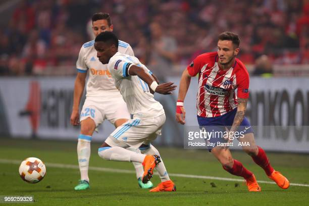 Bouna Sarr of Marseille competes with Saul Niguez of Atletico Madrid during the UEFA Europa League Final between Olympique de Marseille and Club...