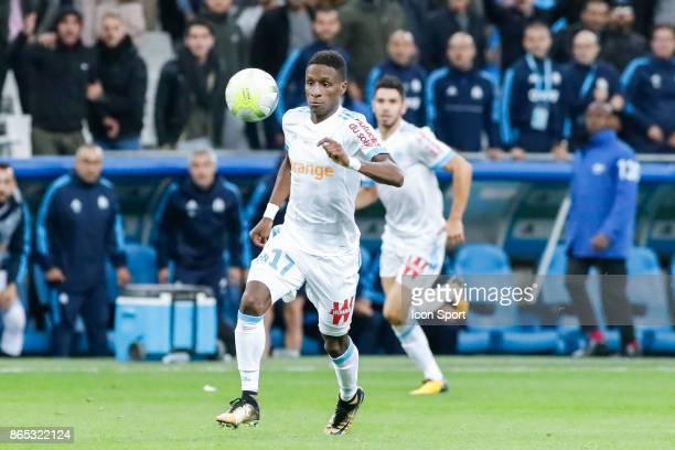 Bouna Sarr of Marseille during the Ligue 1 match between Olympique Marseille and Paris Saint Germain at Stade Velodrome on October 22 2017 in...