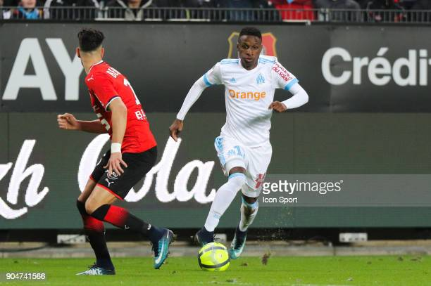Bouna Sarr of Marseille during the Ligue 1 match between Rennes and Marseille at Roazhon Park on January 13 2018 in Rennes France
