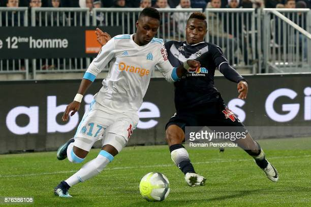 Bouna Sarr of Marseille in action during the Ligue 1 match between FC Girondins de Bordeaux and Olympique Marseille at Stade Matmut Atlantique on...