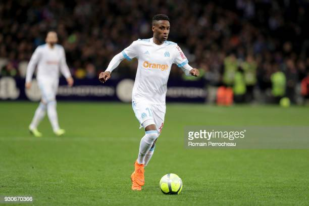 Bouna Sarr of Marseille in action during the Ligue 1 match between Toulouse and Olympique Marseille at Stadium Municipal on March 11 2018 in Toulouse