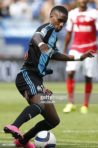 Bouna Sarr of Olympique de Marseille in action during the French Ligue 1 match between Stade de Reims and Olympique de Marseille at Stade Auguste...