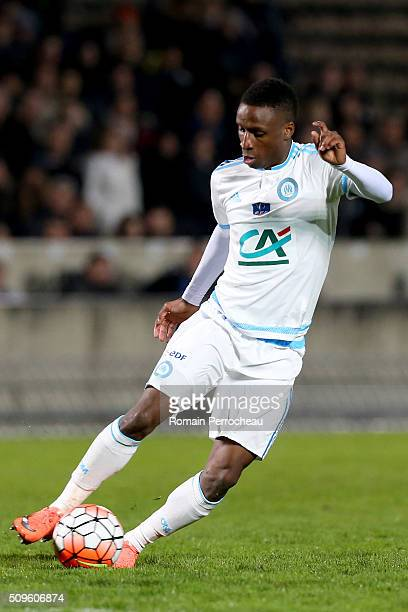 Bouna Sarr of Olympique de Marseille in action during the French Cup match between Trelissac FC and Olympique de Marseille at Stade ChabanDelmas on...