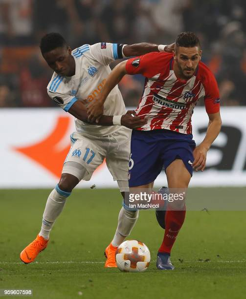 Bouna Sarr of Olympique de Marseille vies with Koke of Athletico Madrid during the UEFA Europa League Final between Olympique de Marseille and Club...