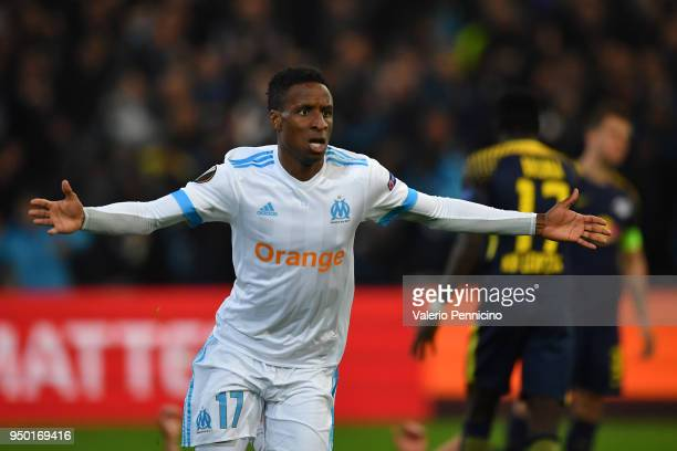 Bouna Sarr of Olympique Marseille celebrates a goal during the UEFA Europa League quarter final leg two match between Olympique Marseille and RB...