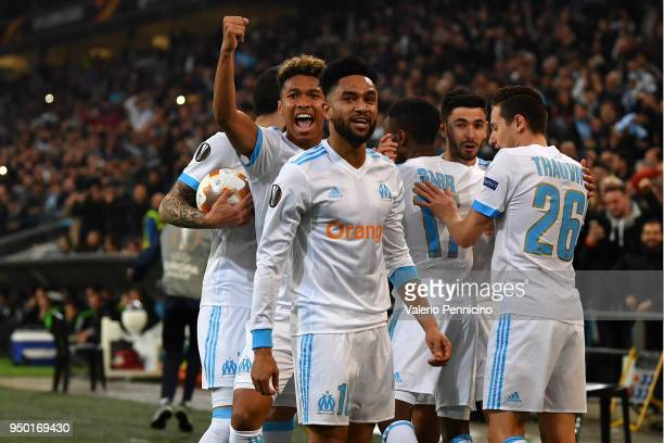 Bouna Sarr of Olympique Marseille celebrates a goal with team mates during the UEFA Europa League quarter final leg two match between Olympique...