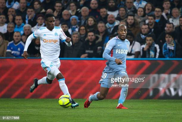 Bouna Sarr of OM Djibril Sidibe of Monaco during the French Ligue 1 match between Olympique de Marseille and AS Monaco at Stade Velodrome on January...