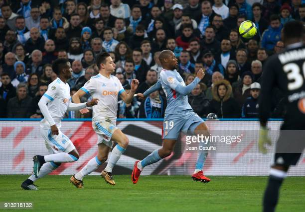 Bouna Sarr of OM Florian Thauvin of OM Djibril Sidibe of Monaco during the French Ligue 1 match between Olympique de Marseille and AS Monaco at Stade...