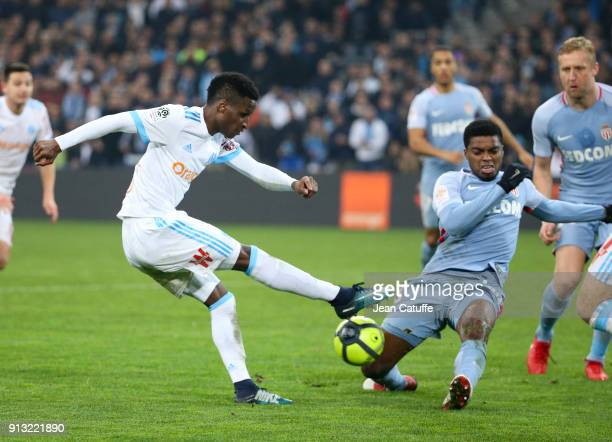 Bouna Sarr of OM Jesus Nascimento Jemerson of Monaco during the French Ligue 1 match between Olympique de Marseille and AS Monaco at Stade Velodrome...